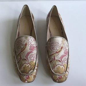 Nine West Tan Red Cream Floral Loafers Shoes 8